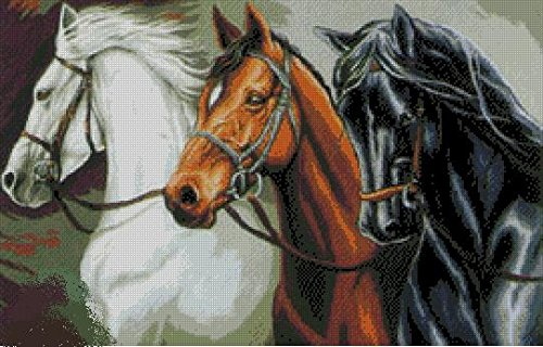 - 3 horses cross stitch kits, 14ct, Egypt cotton thread 270172stitch,5941 cm cross stitch kits