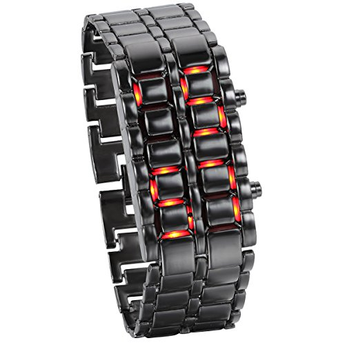 JewelryWe Men's Wristwatch Fashion Novelty Lava Red Blue LED Digital Black Bracelet Watches