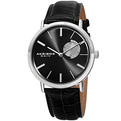 Akribos XXIV AK848 Essential Mens Dress Watch – Sunburst Effect Dial – Quartz Movement – Leather Strap