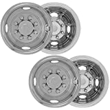 "4pc Full Set of 16"" Wheel Simulator for 8 Lug 4 Hole for Dually Trucks, RV Trailer & Vans - Polished Stainless Steel , OEM Genuine Factory Replacement - Universal Fit Easy Snap On"