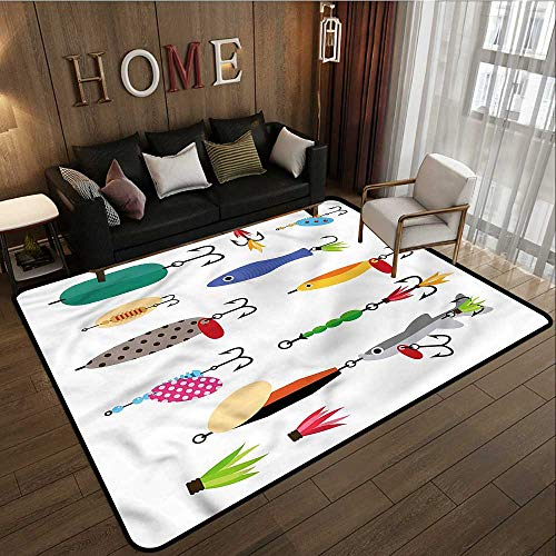 Collection Area Rug Fishing Stinger Net and Worms Anti-Slip Doormat Footpad Machine Washable 4'7