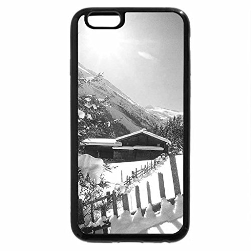 iPhone 6S Case, iPhone 6 Case (Black & White) - cabin in a winter valley