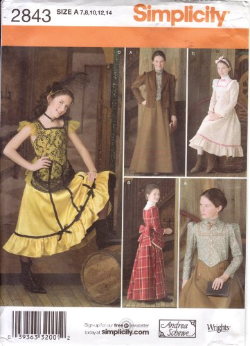 Simplicity Sewing Pattern 2843 Girls' 1880s Western Costumes (Little House on the Prairie Era) -