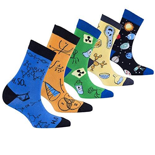 Socks n Socks-Kids 5-pair Fun Cool Cotton Colorful Science Socks Gift Box-Large
