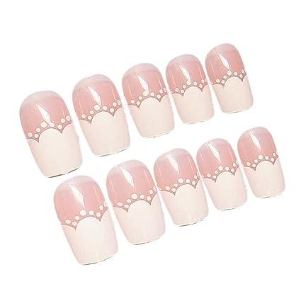 Estilo moderno rosa & Blanco Artificial uñas postizas Tips Uñas Postizas decoración caja ...