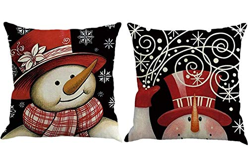 Foozoup Christmas Series Printing Throw Pillowcase Christmas Snowman Home Decor Cushion Cover for Sofa Couch (Set of 2)