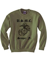 USMC Semper Fi Eagle Globe & Anchor Crewneck Sweatshirt in Military Green