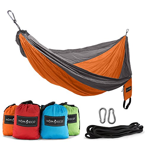 HOMECO Double and Single Camping Hammock, Lightweight Nylon Parachute Travel Hammocks (Orange, Double)