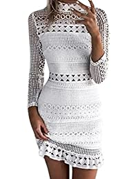 Dress, Summer White Midi Dress Womens Sexy Lace Bodycon Cocktail Ladies Party Pencil Dress Bandage Dresses