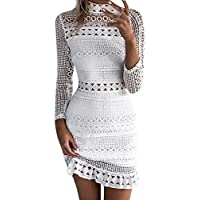 Shyby 2018 Dress, New Summer White Midi Dress Womens Sexy Lace Bodycon Cocktail Ladies Party Pencil Dress Bandage Dresses