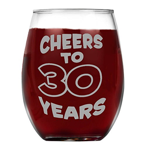 Shop4Ever Cheers To 30 Years Laser Engraved Stemless Wine Glass ~ 30th Birthday Gift ~ (15 oz, Stemless)