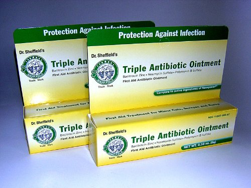 Dr. Sheffields Triple Antibiotic Ointment Bundle of TWO .33 Oz Tubes