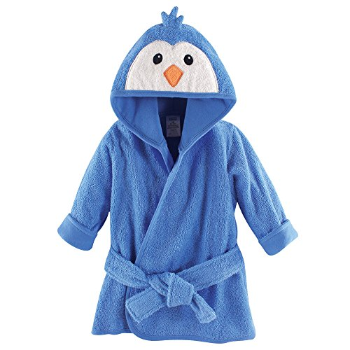 Luvable Friends Animal Face Hooded Bath Robe, Blue Penguin, 0-9 Months