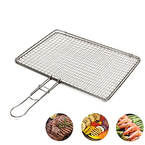 Wispun Barbecue Grilling Basket Folder Grill BBQ Net Stainless Steel Barbecue BBQ Grilling by Wispun