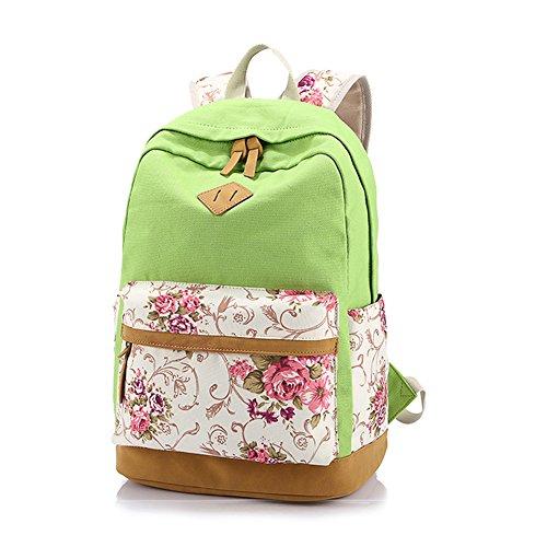 Mujeres y Chicas Adorable Lona Daypacks Ocasionales Florales Estudiante Universitario Mochila Escolar Carteras Entrepiso Especializada que Puede Contener Portátil de 14 Pulgadas Verde