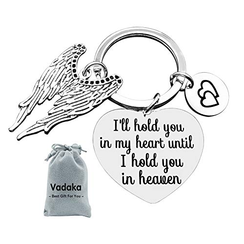 Memorial Keychain,Memorial Jewelry Gift I'll Hold You in My Heart Until I Hold You in Heaven Keychain Keyring Gift Sympathy Jewelry Loss Jewelry Gift