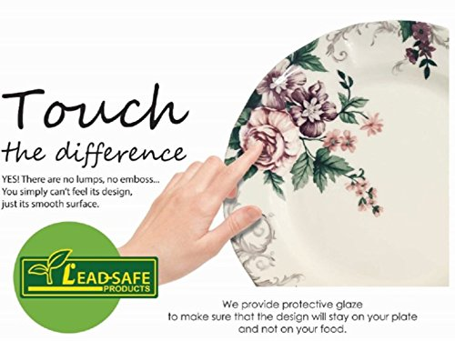 510cIGzrC%2BL - Tudor 16-Piece Porcelain Dinnerware Set, Service for 4 - VICTORIA BLUE, 10 Designs Inside!