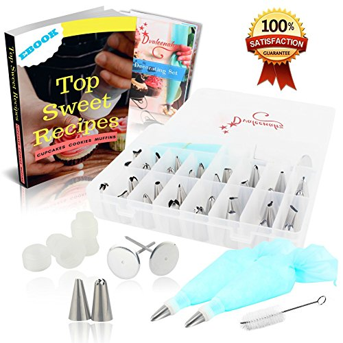 Cake Decorating Kit, Supplies, Baking Gifts, 41 Piece Piping Tips Set, 32 Icing Nozzles, 2 Reusable Pastry Bags, 2 Couplers, 2 Flower Nails, 1 Cleaning Brush, Best Kitchen (Anniversary Decorating Kit)