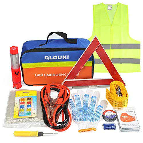 - QLOUNI 12pcs Car Emergency Kit, First Aid Kit with Jumper Cables, Tow Rope,Triangle, Flash Light, Rain Coat, Safety Vest More Multifunctional Roadside Assistance Tools