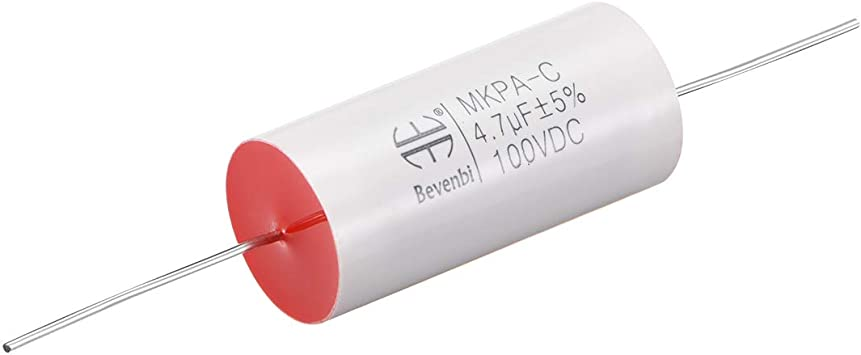 uxcell Film Capacitor 100V DC 4.7uF Axial Polypropylene Film Capacitor for Audio Divider Yellow