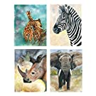Set of 4 Watercolor Safari Animals Rhino Giraffe Zebra Elephant Art Prints Posters Home Office Nursery Decor 11x14 Inches