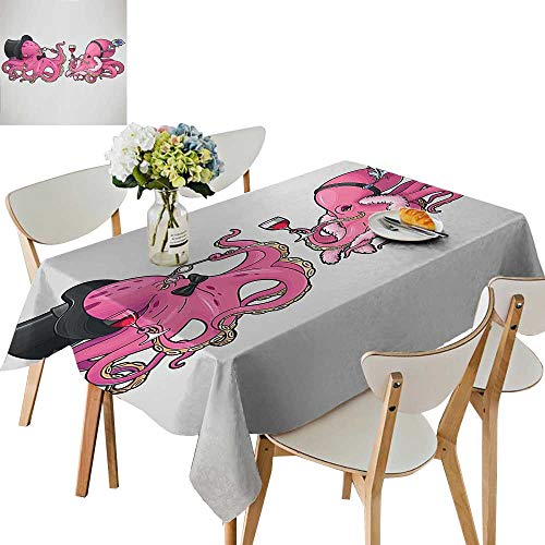 (UHOO2018 Polyester Tablecloth Square/Rectangle Cartoon Art Illustration of Octopuses in Fun Retro Costumes at Party Vintage Style Resistant and Waterproof,52 x)