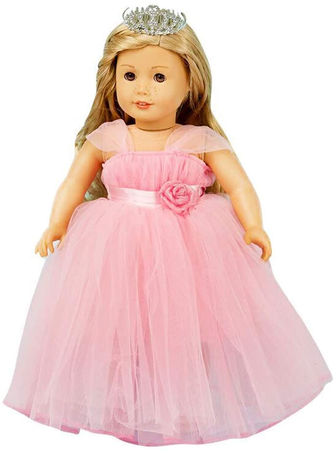 Charming Princess Birthday Dress with Hat for 18inch American Doll Dress Up