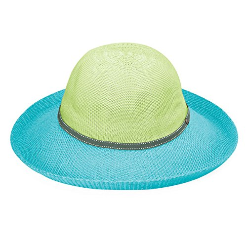 Wallaroo Hat Company Women's Victoria Two-Toned Sun Hat - Lime/Turquoise - UPF 50+, Packable, Lined, Modern Style, Designed in Australia. ()