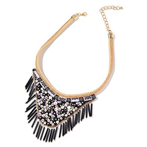 Black Chroma Goldtone Fabric V-Shape Fringe Tribal Fashion Collar Pendant Necklace 16-20