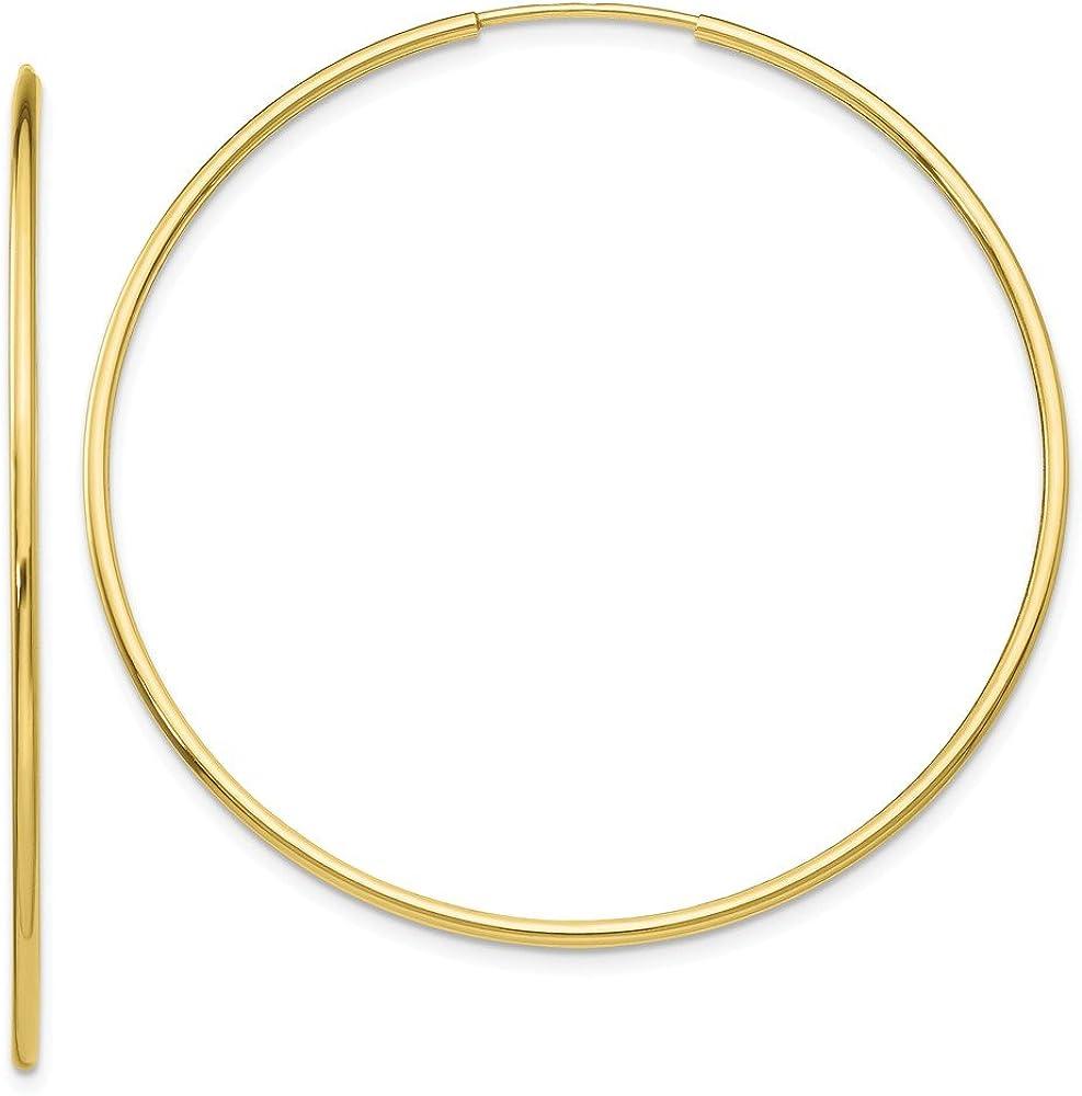 10K Yellow Gold Polished 50mm Endless Tube Hoop Earrings