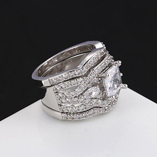 3 pcs platinum plated princess cut halo cubic zirconia