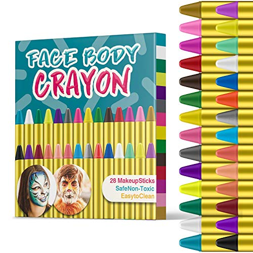 HENMI Easter Face Painting, 28 Bright Colors Face Paint Crayons Safety Face Body Paint Sticks Tatoo Paint Crayons for Toddlers Easter Party Makeup and Cosplay, EN71 Certified]()