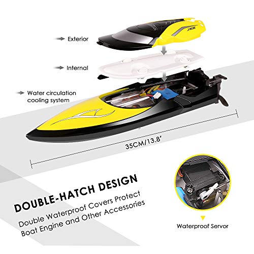 510cJyIc2SL - Remote Control Boats - SHARKOOL H106 Rc Self Righting Racing Boats for Boys & Girls, 2.4Ghz High Speed Remote Control Boat Toys for Kids Or Adults. (Black)