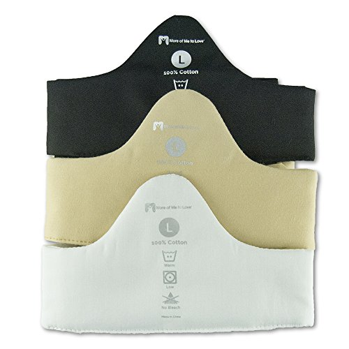 3-Pack Bra Liners: Black, Beige, White - 100% Cotton - Large - 2 Thin Band