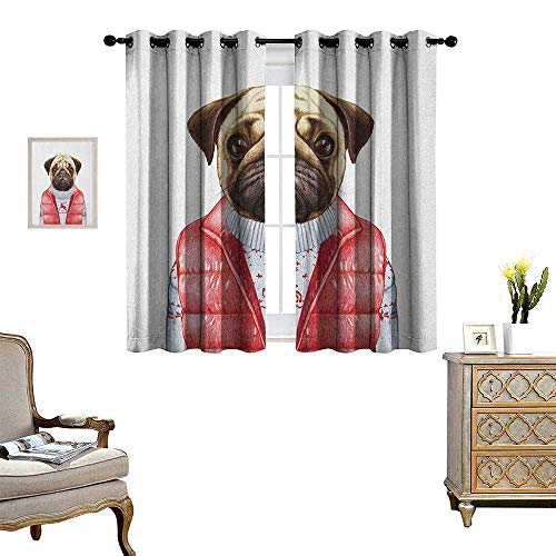 Warm Family Pug Window Curtain Fabric Red Vest and Christmas Sweater on a Adorable Dog Hand Drawn Animal Fun Image Drapes for Living Room W63 x L45 Pale Brown Red White