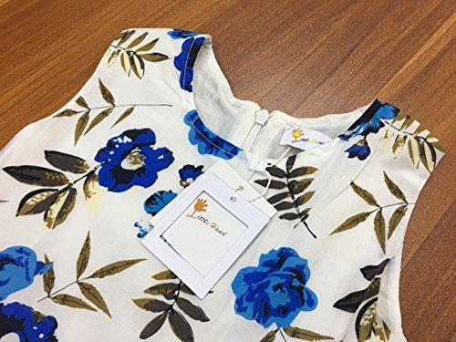 Filles Sans Manches Robes Vintage Fleur Robe À Fleurs Robes D'été Enfant En Bas Âge Dresse Avec Ruban, Jupes Pour Les Enfants 2-9 Ans Blanc