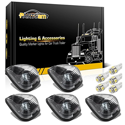 - Partsam 5x Clear Cover Cab Marker Light 264143CL+ 5x White T10 LED Lights Assembly Replacement For 1999-2016 Ford F150 F250 F350 F450 F550