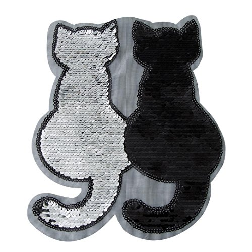 LiPing Cat Reversible Color Sequins Clothing Embroidery Patch Sticker Iron On Sew Cloth DIY Fabric Patch Applique Decor (Black)