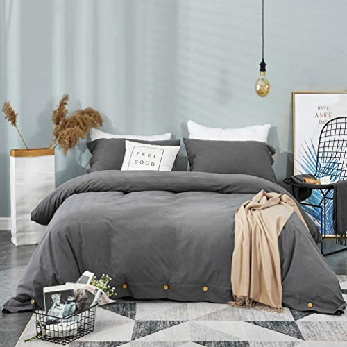 KINBEDY Washed Cotton Duvet Cover Set King Size Dark Gray Charcoal Gray, 3 Piece Soft Vintage Bedding Comforter Cover Set with Button Closure (Hypoallergenic, Breathable) (Cover Duvet Size King Charcoal)