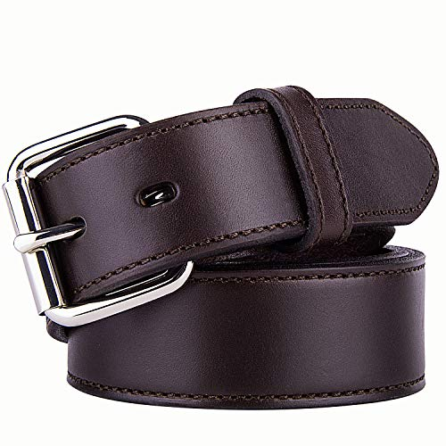 (POYOLEE Concealed Carry CCW Leather Gun Belt | Full Grain Leather Belt for Gun Carry | Mens Heavy Duty EDC Belt 1 1/2-Inch Brown 36'' )