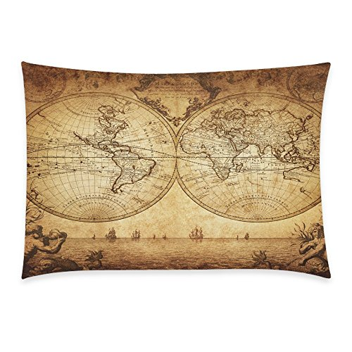 InterestPrint Home Bathroom Decor Vintage World Map Pillowcases Decorative Pillow Cover Case Shams Standard Size for Couch Bed-Brown-20x30 Inch-Polyester Cotton-Sail Ship Ocean Fish (Pillow World Sham Insert)