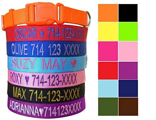 Mix Paws TM - Personalized Customized Embroidered Dog Name Adjustable Nylon Collar for Dog, Pet, Puppy, Black, Red, Pink, Purple ()