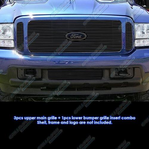 Fits 99-2004 Ford F250/F350/2000-2004 Excursion Black Billet Grille Grill Combo #F61148H - Excursion Billet Grill