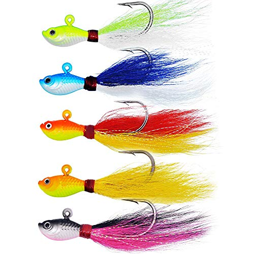 kmucutie New 3D Eyes Bucktail Jigs 27g Super Glow for