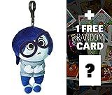 Disney Pixar Sadness: ~8'' Inside Out Zippered Clip Plush Doll + 1 FREE Classic Disney Trading Card Bundle