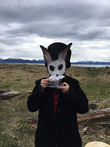 Creepy White Bunny Halloween Mask - Scary Rabbit Mask - Custom Handmade (Dead White Rabbit Costume)
