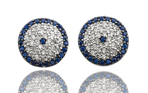 [Sterling Silver Clear with Blue Cz Earrings (I-1321)] (Courtney Love Costume)