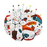 Classic Set, 50 Premium Glass Head Multicolor Sewing Pins with pincushions wrist Pumpkin Pin Cushion. Premium Quality.