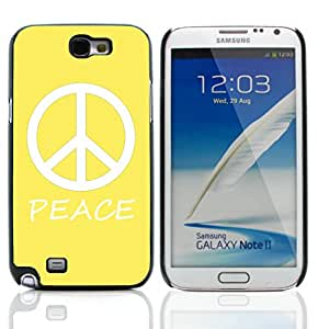 Graphic4You Peace Sign Design Hard Case Cover for Samsung Galaxy Note 2 Note II (Yellow)