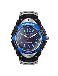 HIwatch Boys Simple Analog Watches Classic Quartz Waterproof Wrist Sport Watch with Multi Coloured Lights for Preschool Student, Blue